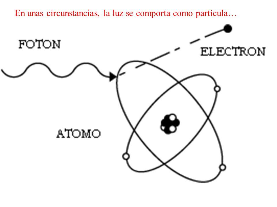 En unas circunstancias, la luz se comporta como partícula…