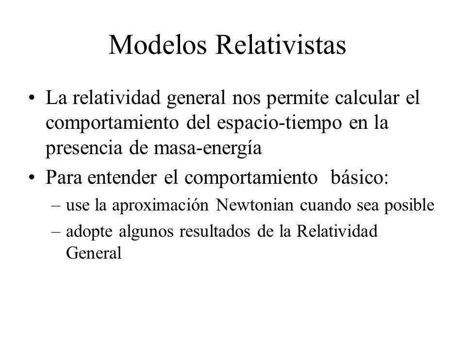Modelos Relativistas La relatividad general nos permite calcular el comportamiento del espacio-tiempo en la presencia de masa-energía.