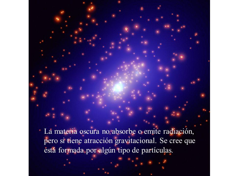 La materia oscura no absorbe o emite radiación, pero si tiene atracción gravitacional.