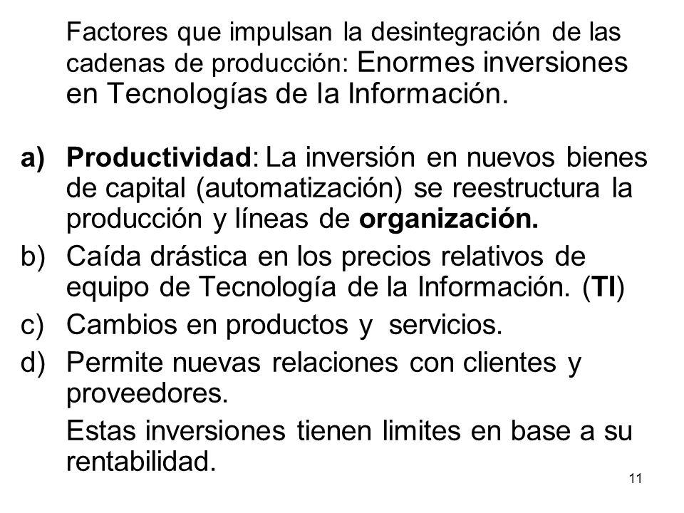 Cambios en productos y servicios.