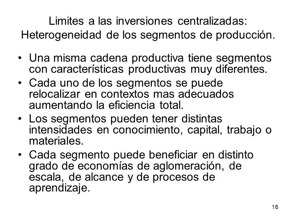 Limites a las inversiones centralizadas: Heterogeneidad de los segmentos de producción.