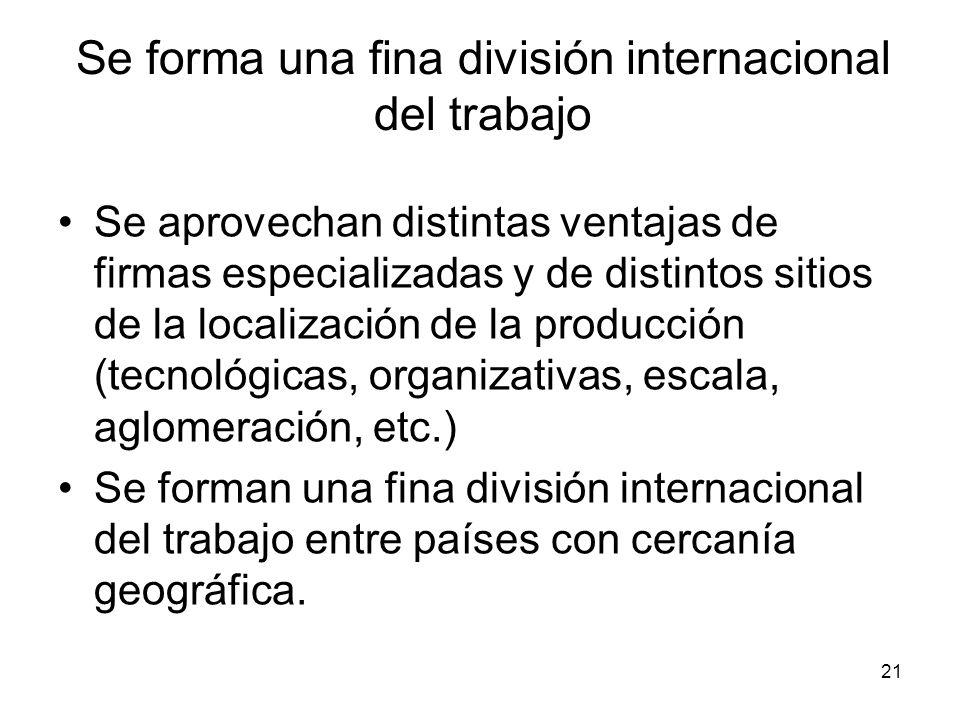 Se forma una fina división internacional del trabajo