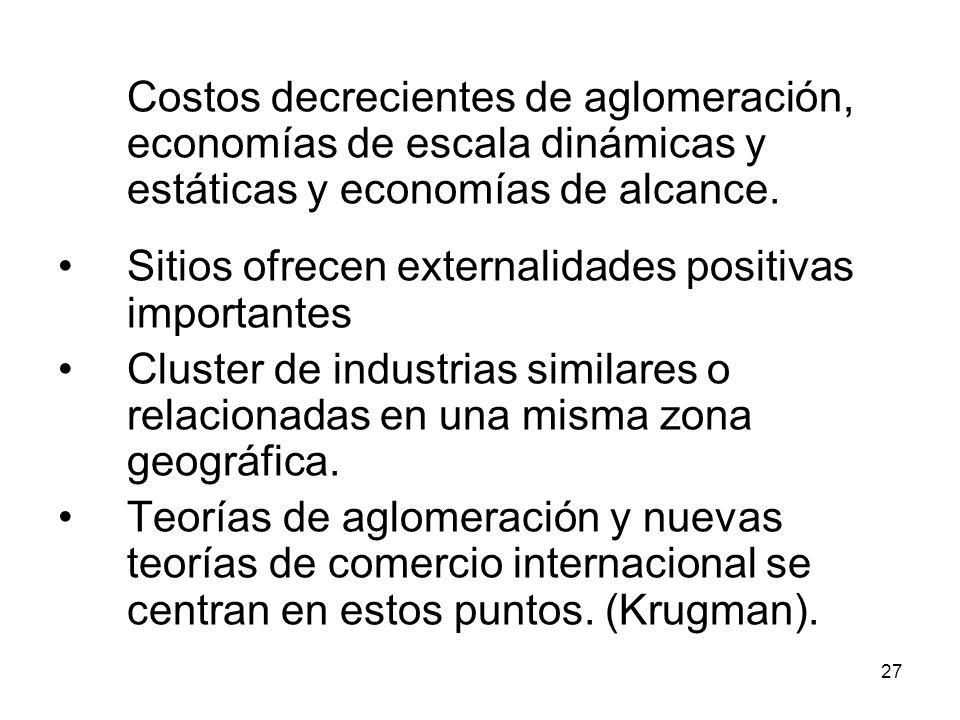 Costos decrecientes de aglomeración, economías de escala dinámicas y estáticas y economías de alcance.