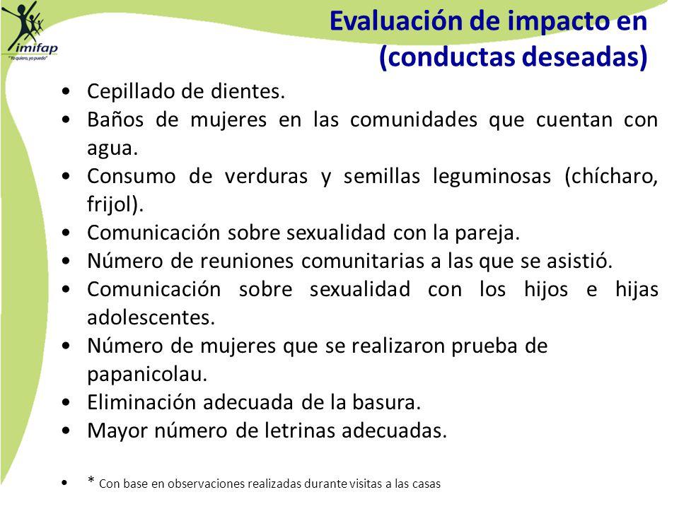 Evaluación de impacto en (conductas deseadas)