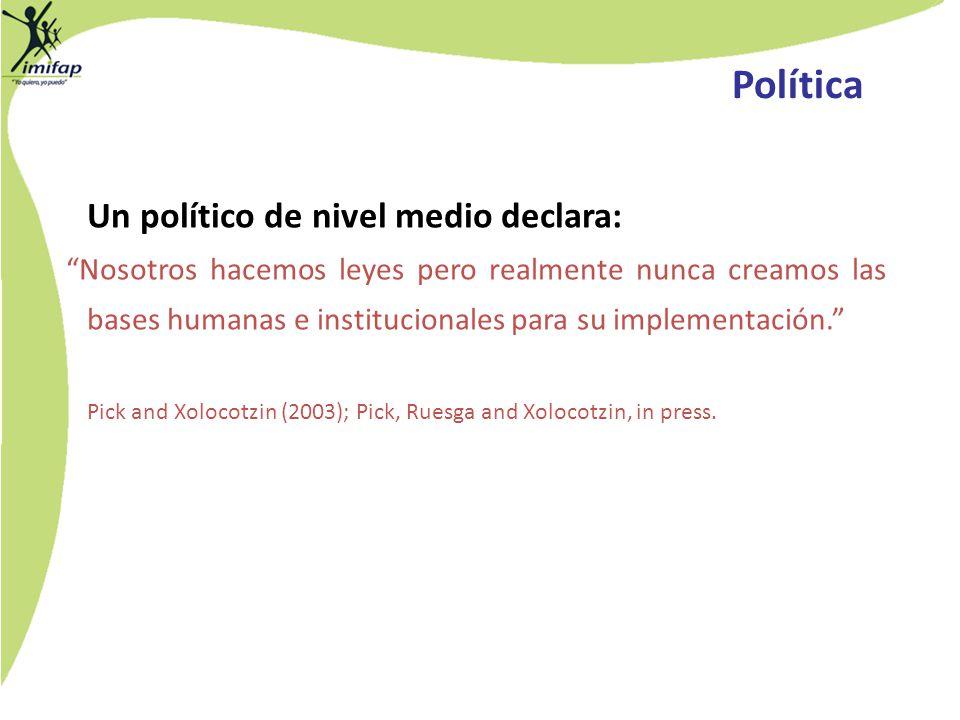 Política Un político de nivel medio declara:
