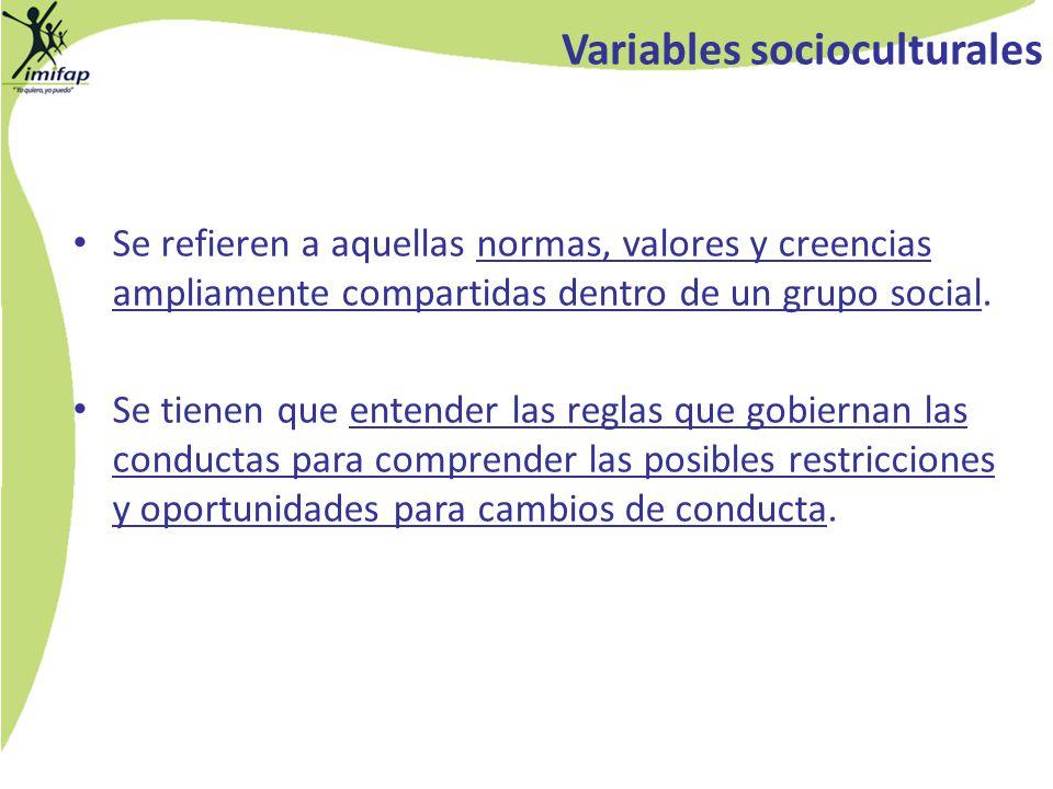 Variables socioculturales