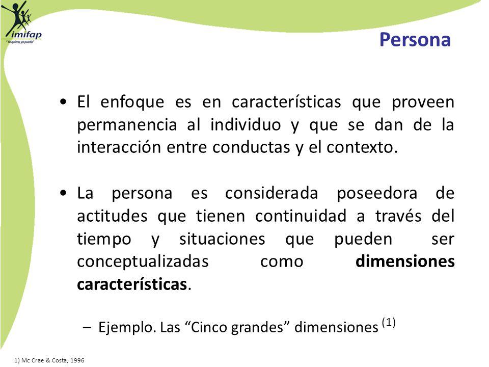 Persona El enfoque es en características que proveen permanencia al individuo y que se dan de la interacción entre conductas y el contexto.