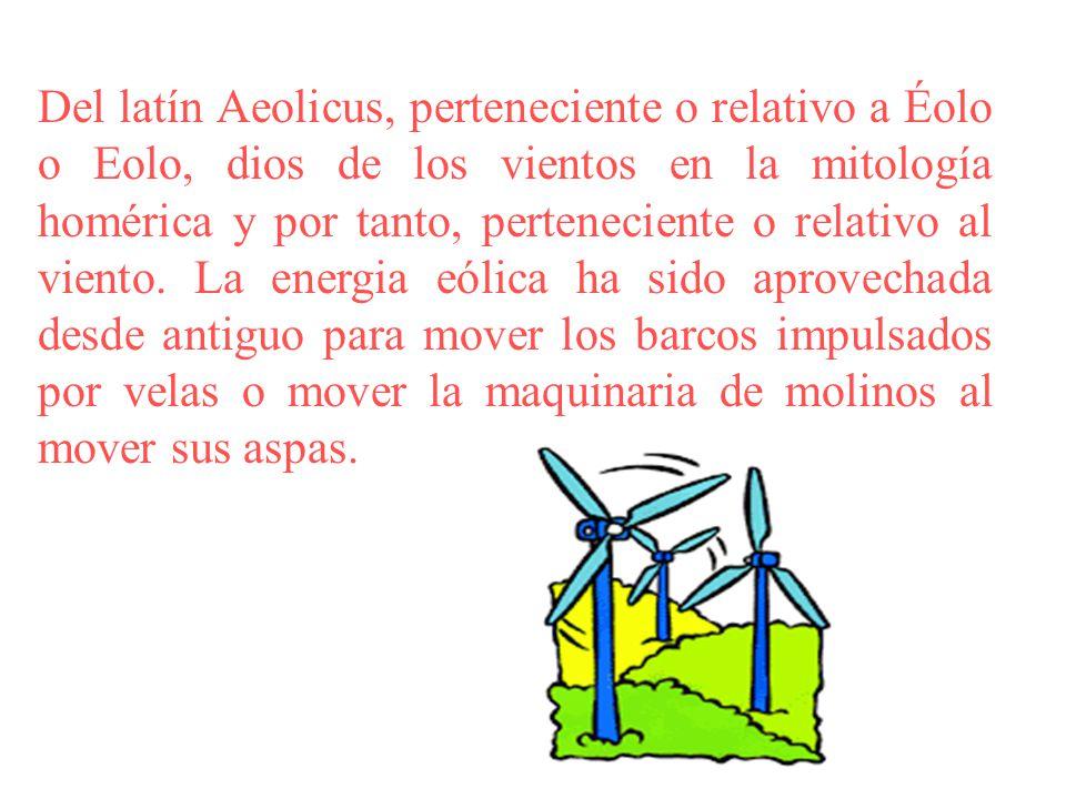 Del latín Aeolicus, perteneciente o relativo a Éolo o Eolo, dios de los vientos en la mitología homérica y por tanto, perteneciente o relativo al viento.