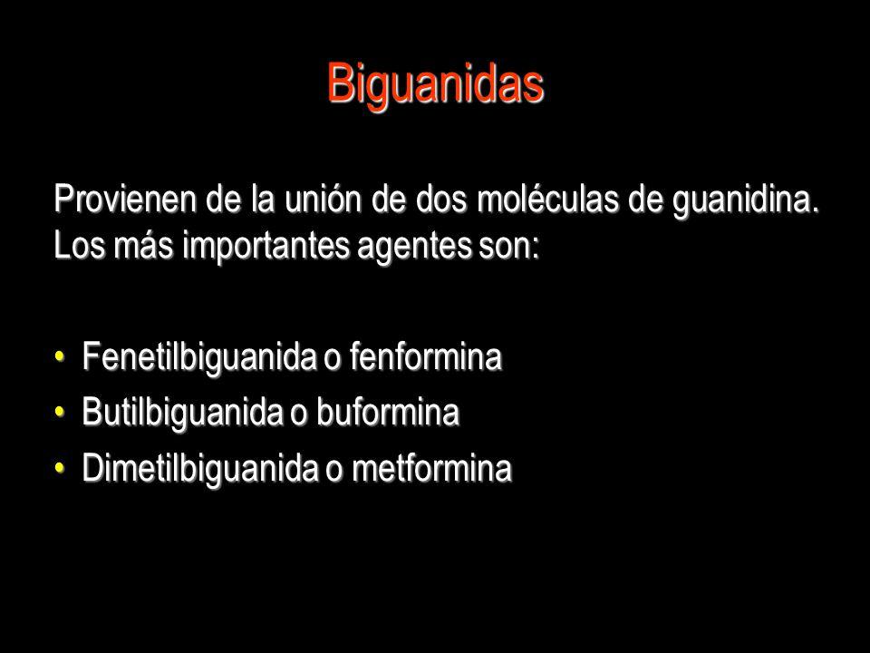 Biguanidas Provienen de la unión de dos moléculas de guanidina. Los más importantes agentes son: Fenetilbiguanida o fenformina.