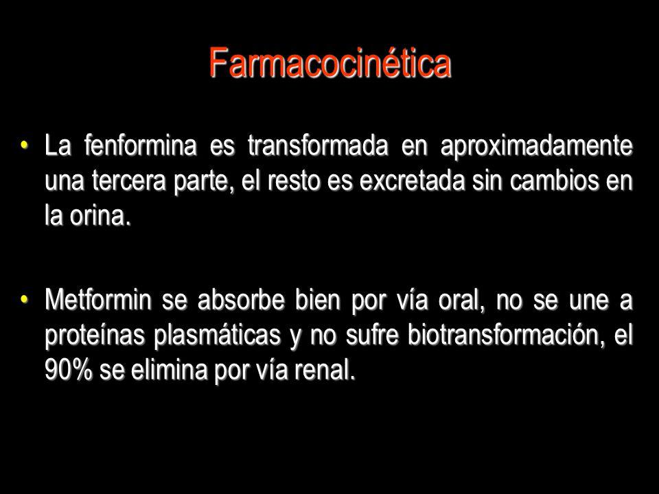 Farmacocinética La fenformina es transformada en aproximadamente una tercera parte, el resto es excretada sin cambios en la orina.
