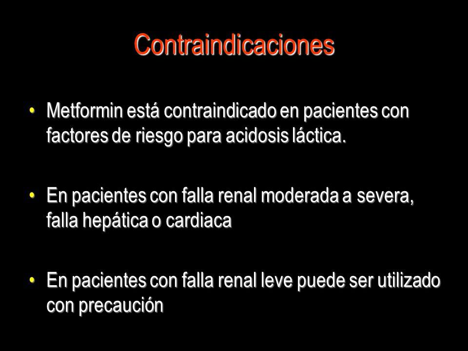 Contraindicaciones Metformin está contraindicado en pacientes con factores de riesgo para acidosis láctica.
