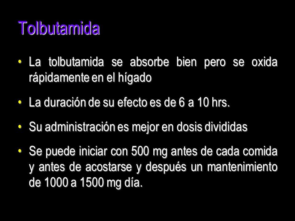 Tolbutamida La tolbutamida se absorbe bien pero se oxida rápidamente en el hígado. La duración de su efecto es de 6 a 10 hrs.