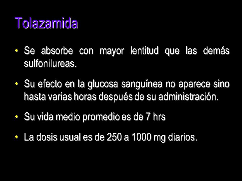 Tolazamida Se absorbe con mayor lentitud que las demás sulfonilureas.