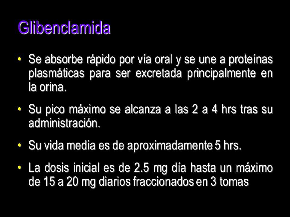 Glibenclamida Se absorbe rápido por vía oral y se une a proteínas plasmáticas para ser excretada principalmente en la orina.