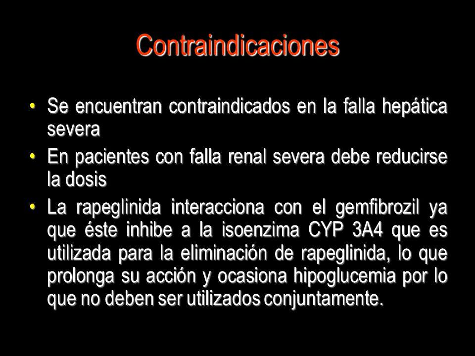 Contraindicaciones Se encuentran contraindicados en la falla hepática severa. En pacientes con falla renal severa debe reducirse la dosis.