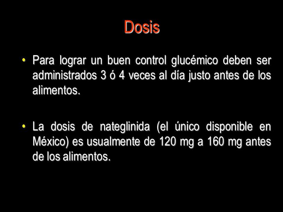 Dosis Para lograr un buen control glucémico deben ser administrados 3 ó 4 veces al día justo antes de los alimentos.