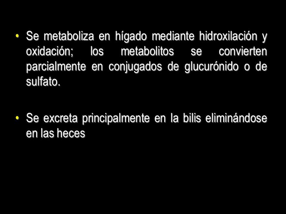 Se metaboliza en hígado mediante hidroxilación y oxidación; los metabolitos se convierten parcialmente en conjugados de glucurónido o de sulfato.