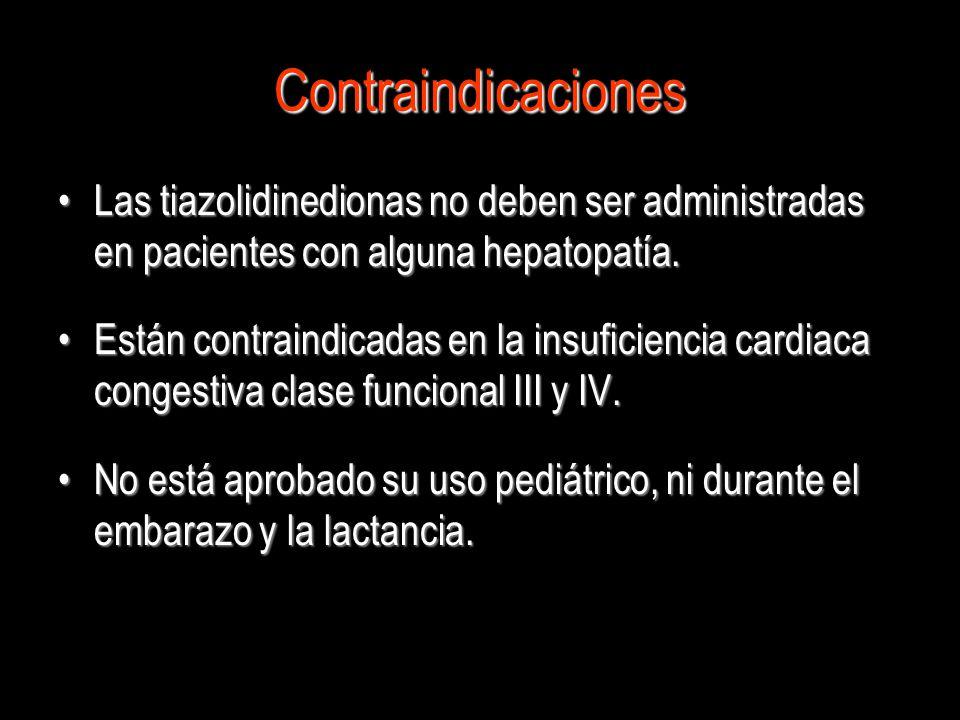 Contraindicaciones Las tiazolidinedionas no deben ser administradas en pacientes con alguna hepatopatía.