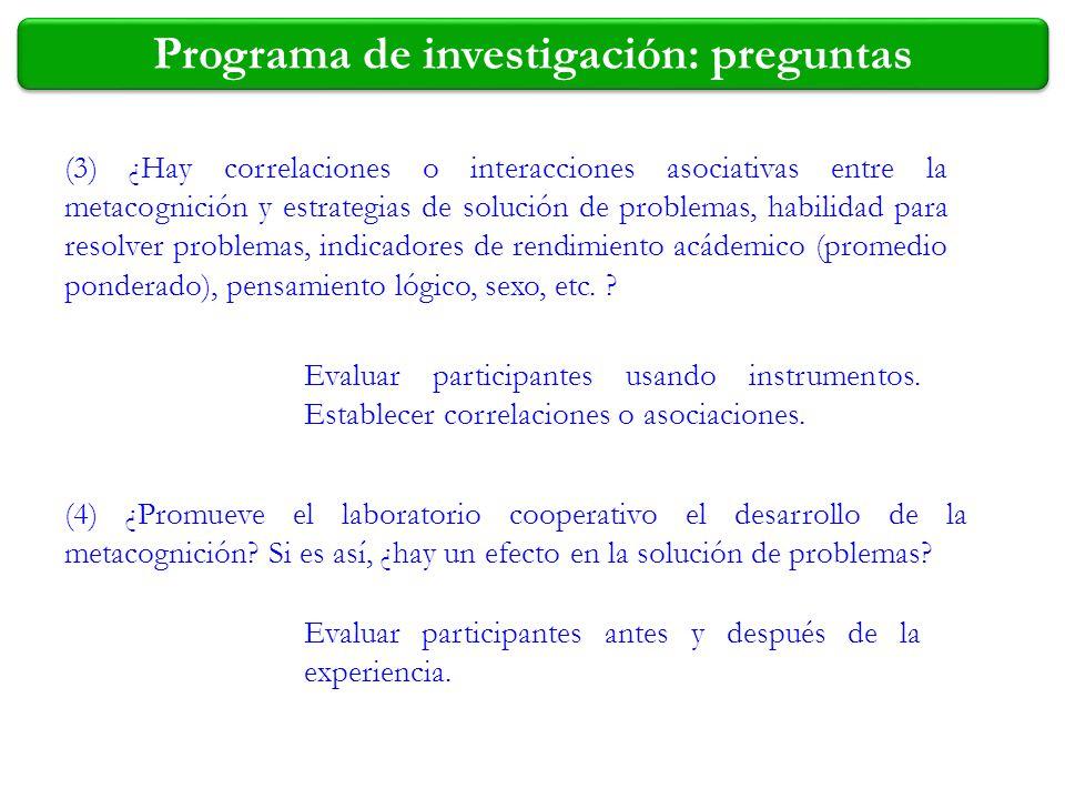 Programa de investigación: preguntas