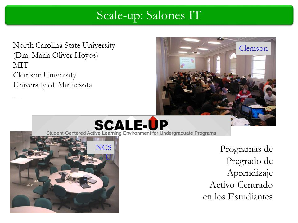 Scale-up: Salones IT North Carolina State University. (Dra. Maria Oliver-Hoyos) MIT. Clemson University.