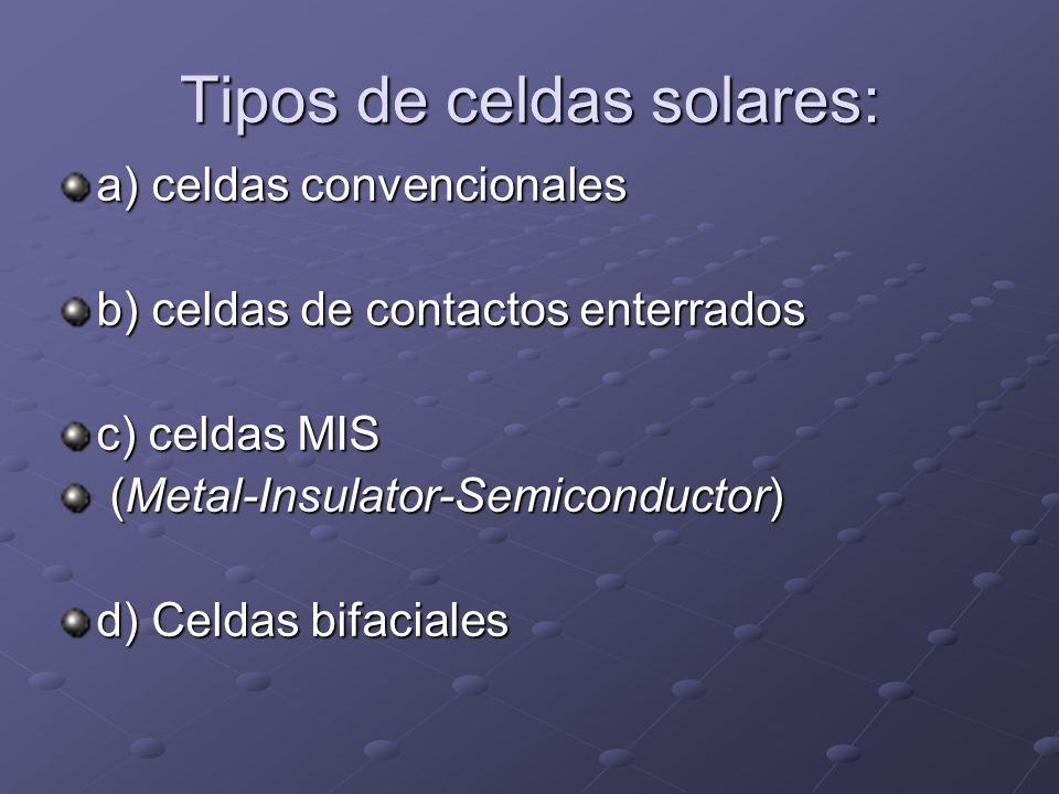 Tipos de celdas solares: