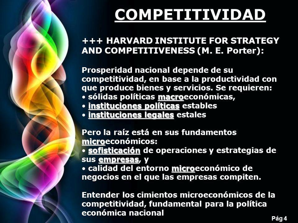 COMPETITIVIDAD +++ HARVARD INSTITUTE FOR STRATEGY AND COMPETITIVENESS (M. E. Porter):