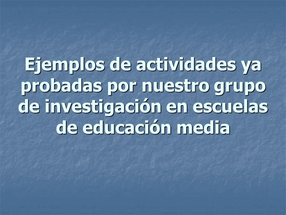 Ejemplos de actividades ya probadas por nuestro grupo de investigación en escuelas de educación media