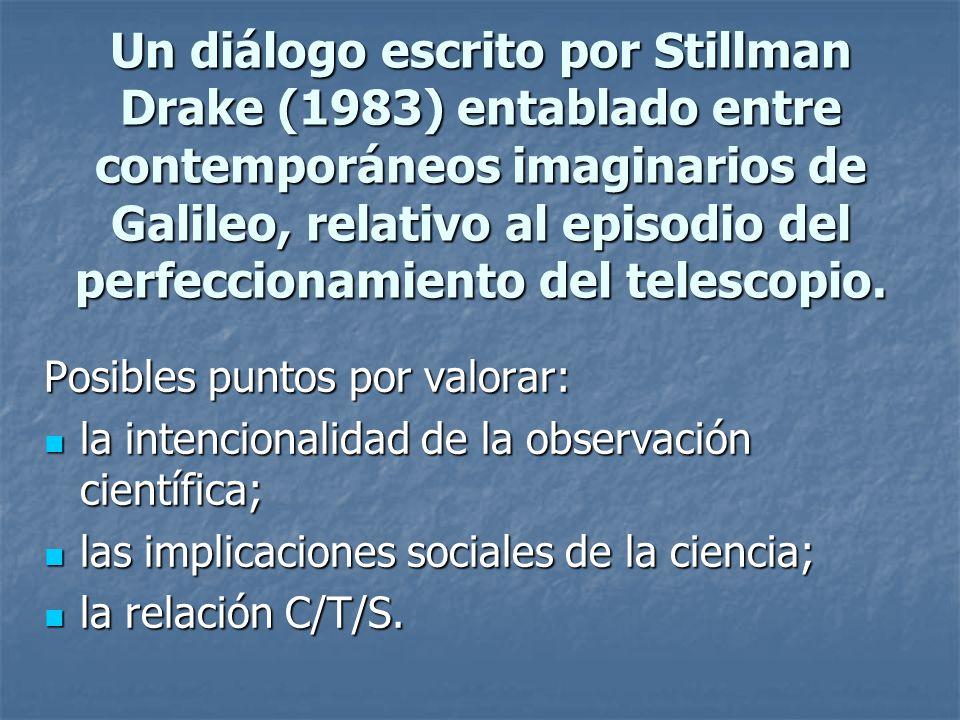 Un diálogo escrito por Stillman Drake (1983) entablado entre contemporáneos imaginarios de Galileo, relativo al episodio del perfeccionamiento del telescopio.