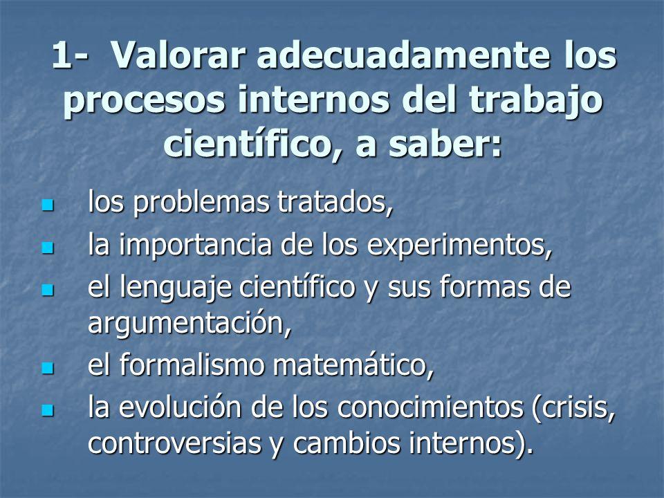 1- Valorar adecuadamente los procesos internos del trabajo científico, a saber: