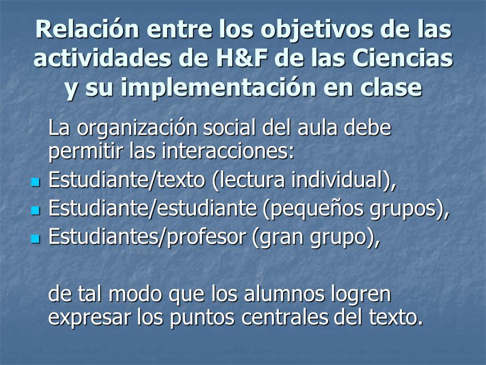 Relación entre los objetivos de las actividades de H&F de las Ciencias y su implementación en clase