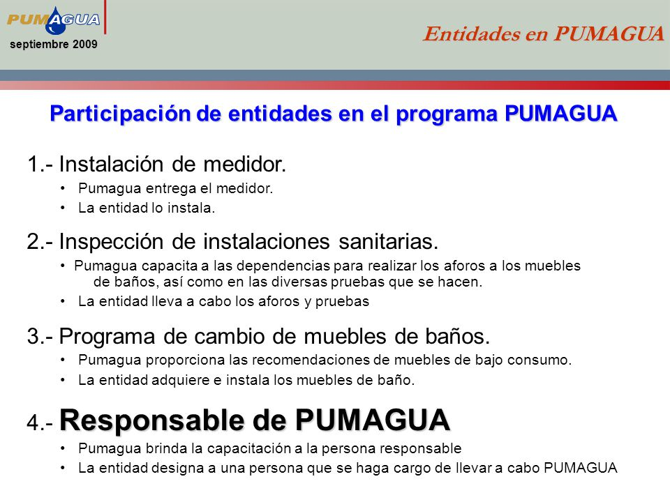 Participación de entidades en el programa PUMAGUA