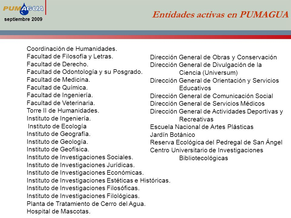 Entidades activas en PUMAGUA