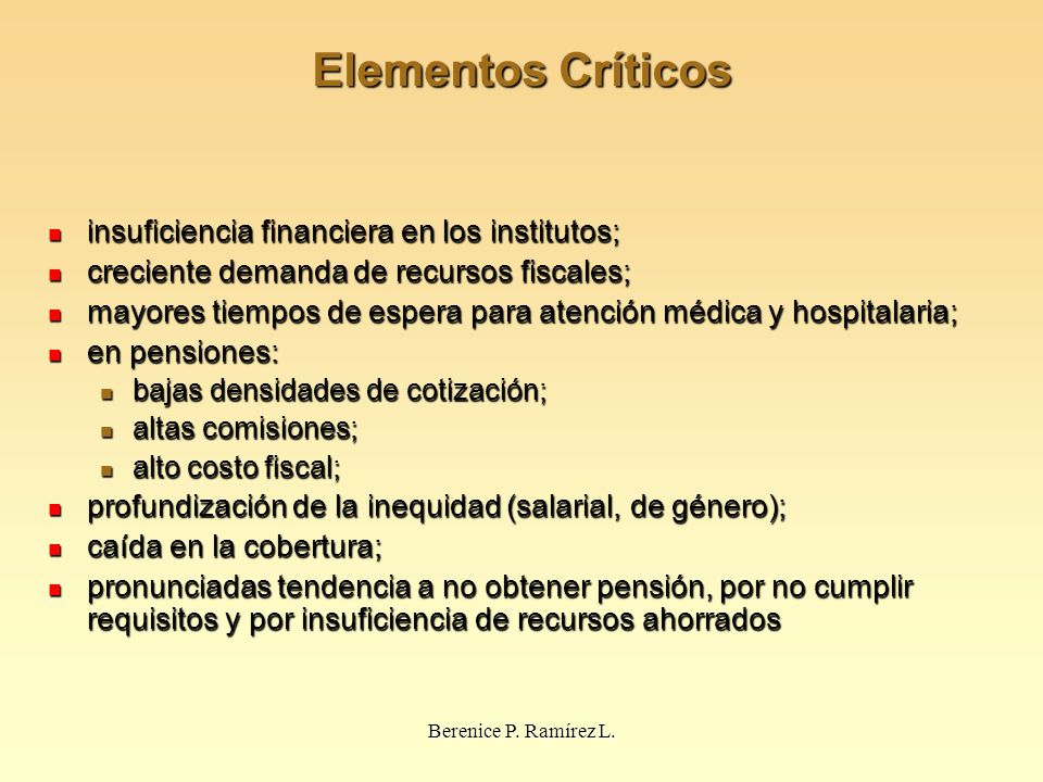 Elementos Críticos insuficiencia financiera en los institutos;
