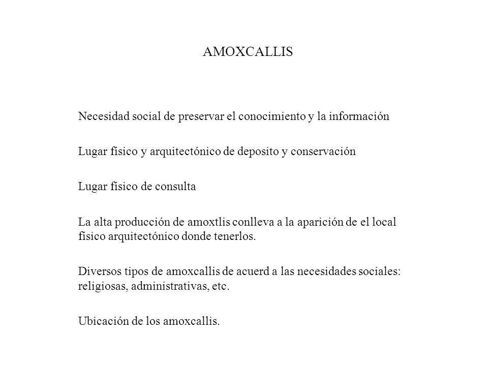 AMOXCALLIS Necesidad social de preservar el conocimiento y la información. Lugar físico y arquitectónico de deposito y conservación.