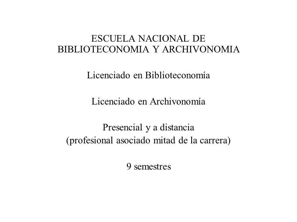 ESCUELA NACIONAL DE BIBLIOTECONOMIA Y ARCHIVONOMIA