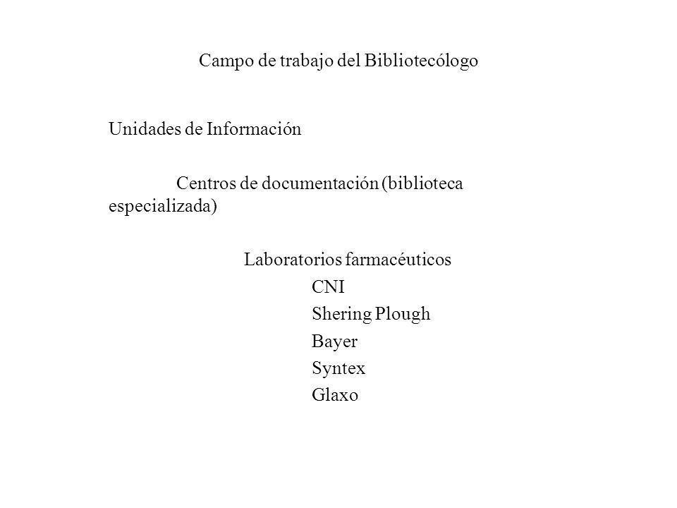 Campo de trabajo del Bibliotecólogo