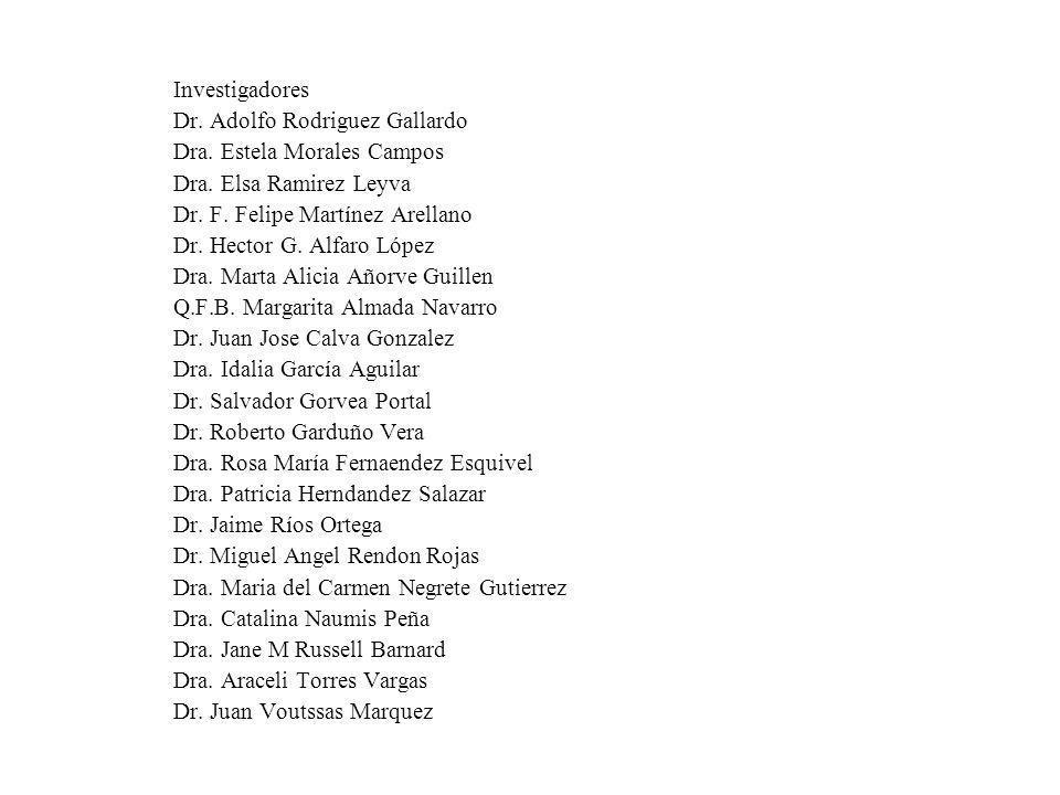 Investigadores Dr. Adolfo Rodriguez Gallardo. Dra. Estela Morales Campos. Dra. Elsa Ramirez Leyva.