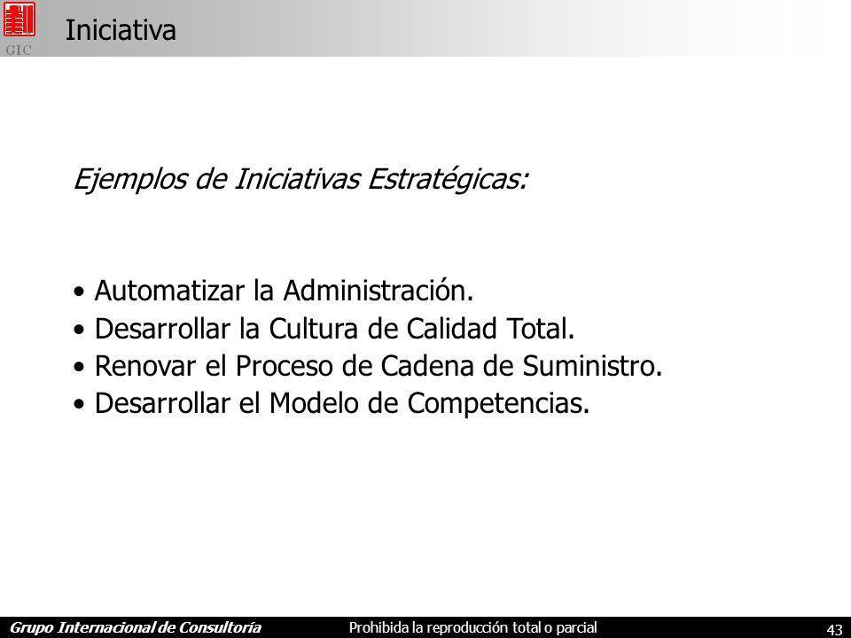 Iniciativa Ejemplos de Iniciativas Estratégicas: Automatizar la Administración. Desarrollar la Cultura de Calidad Total.