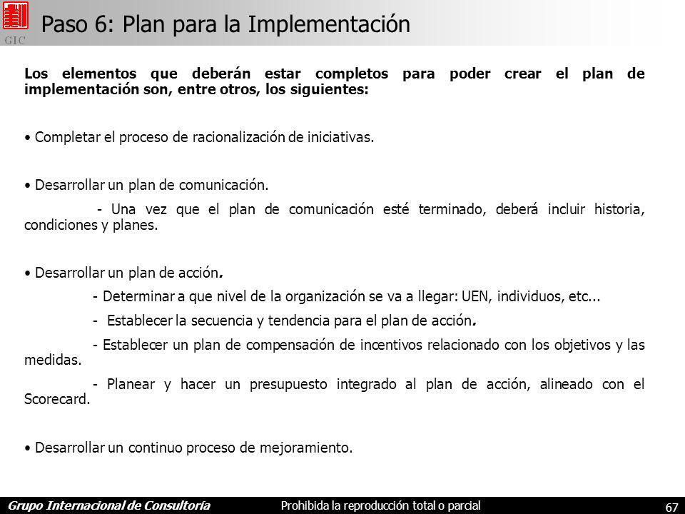 Paso 6: Plan para la Implementación