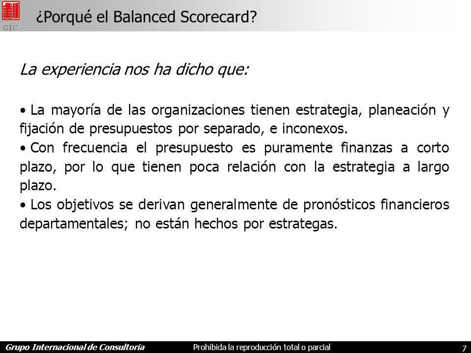 ¿Porqué el Balanced Scorecard