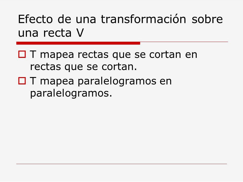 Efecto de una transformación sobre una recta V