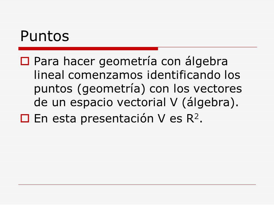Puntos Para hacer geometría con álgebra lineal comenzamos identificando los puntos (geometría) con los vectores de un espacio vectorial V (álgebra).