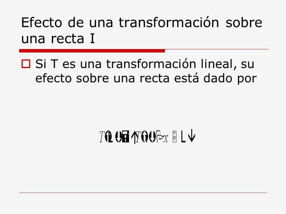 Efecto de una transformación sobre una recta I