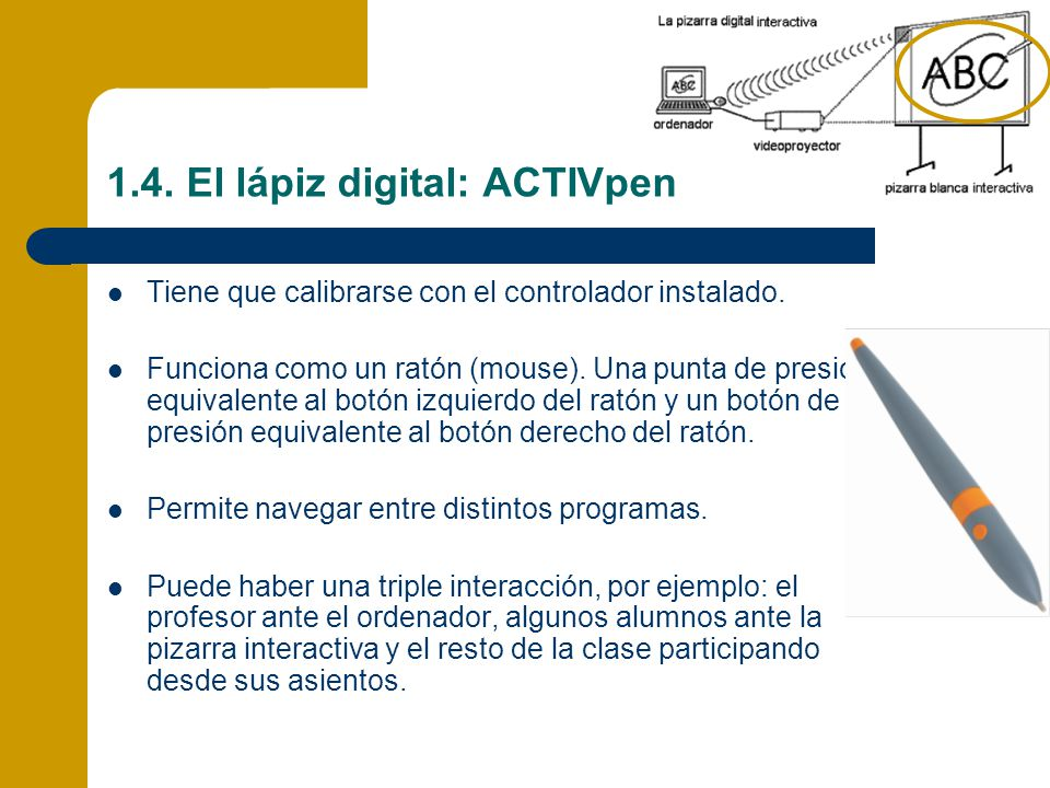 1.4. El lápiz digital: ACTIVpen