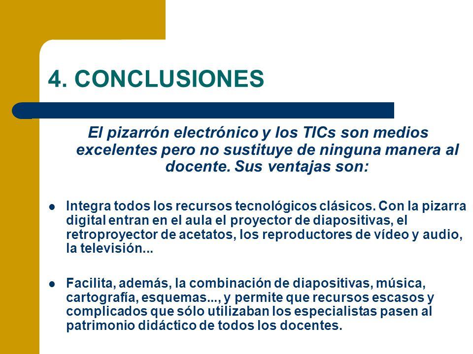4. CONCLUSIONES El pizarrón electrónico y los TICs son medios excelentes pero no sustituye de ninguna manera al docente. Sus ventajas son: