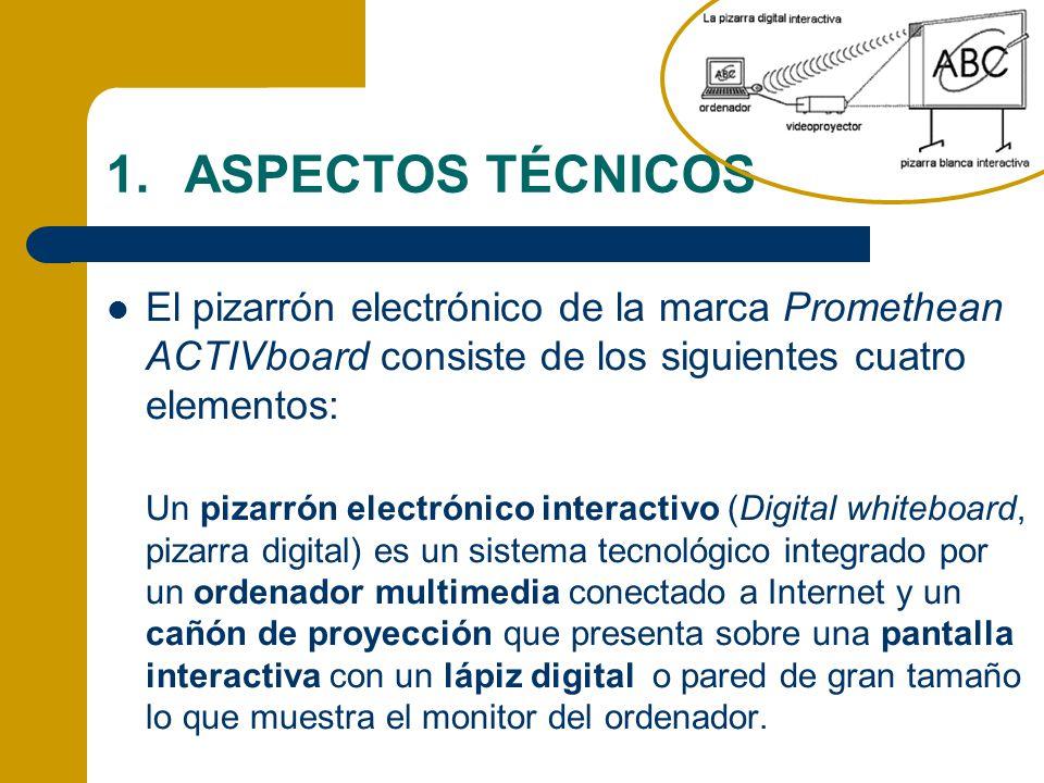 ASPECTOS TÉCNICOS El pizarrón electrónico de la marca Promethean ACTIVboard consiste de los siguientes cuatro elementos: