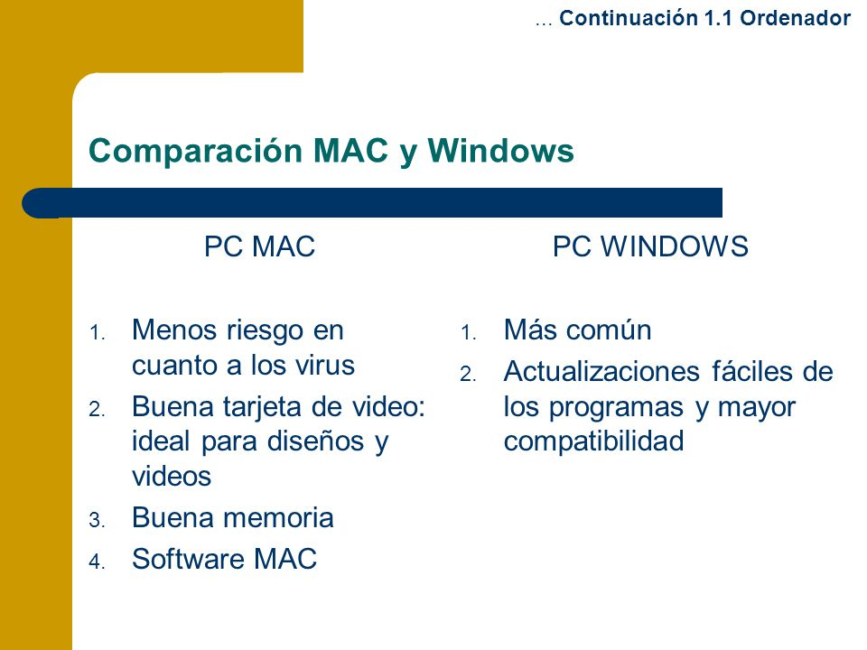 Comparación MAC y Windows
