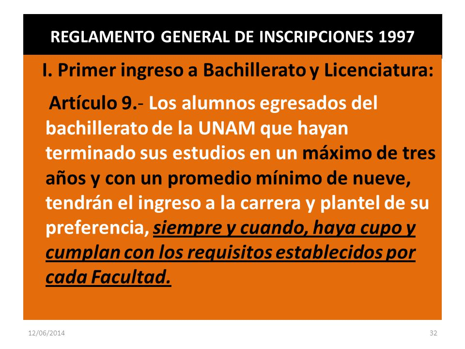 REGLAMENTO GENERAL DE INSCRIPCIONES 1997