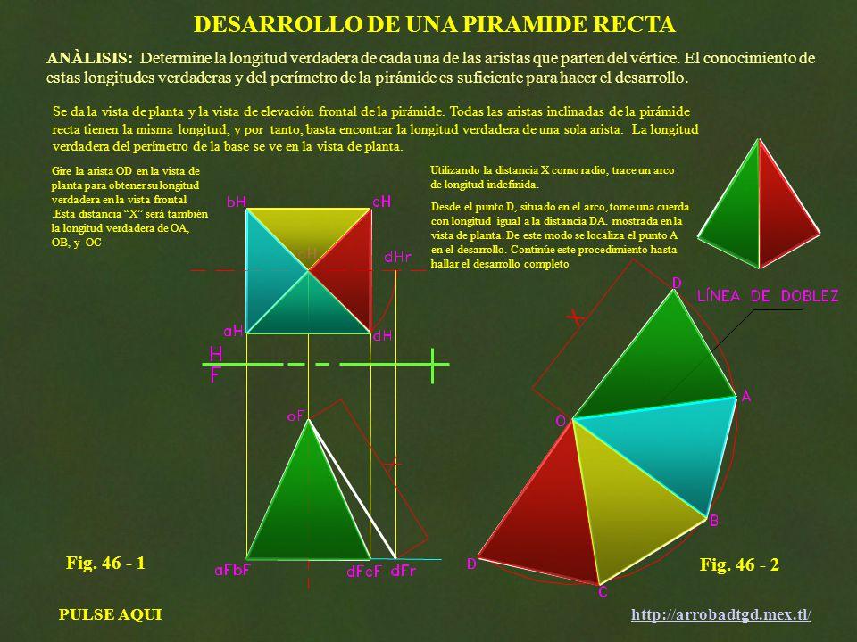 DESARROLLO DE UNA PIRAMIDE RECTA