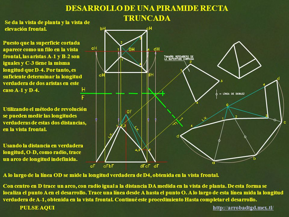 DESARROLLO DE UNA PIRAMIDE RECTA TRUNCADA